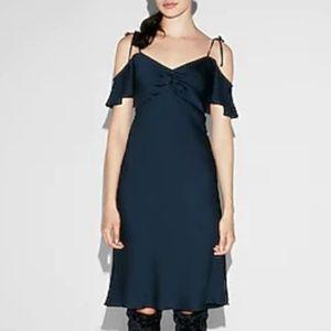 NWT Express Satin Cold Shoulder Navy Blue Dress